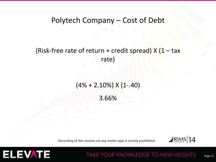 Polytech Company – Cost of Debt