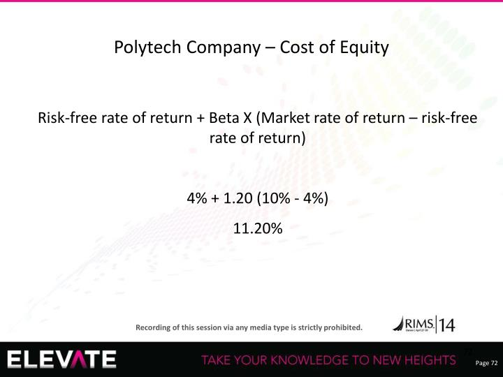 Polytech Company – Cost of Equity