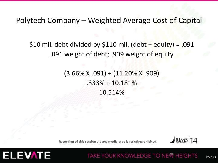 Polytech Company – Weighted Average Cost of Capital