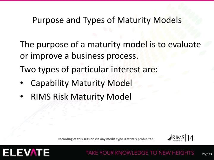 Purpose and Types of Maturity Models