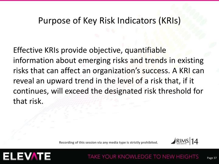 Purpose of Key Risk Indicators (KRIs)