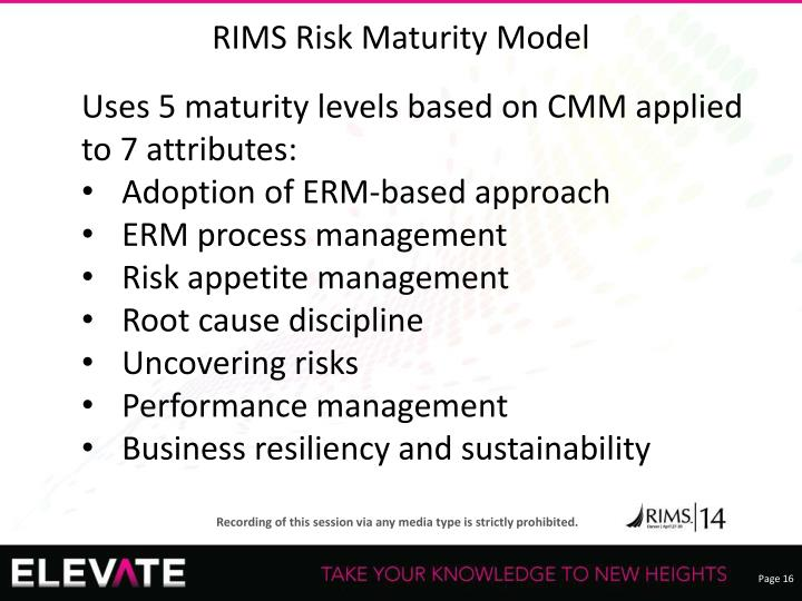 RIMS Risk Maturity Model
