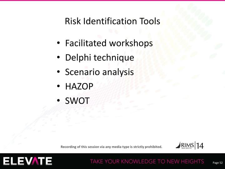 Risk Identification Tools