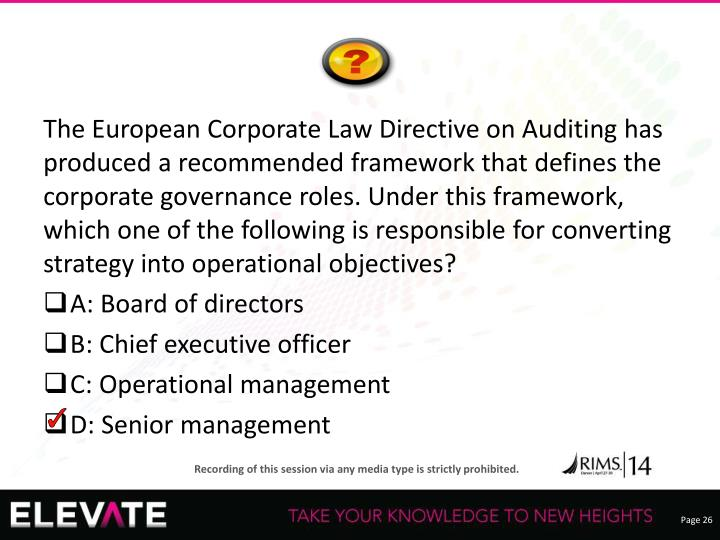 The European Corporate Law Directive on Auditing has produced a recommended framework that defines the corporate governance roles. Under this framework, which one of the following is responsible for converting strategy into operational objectives?