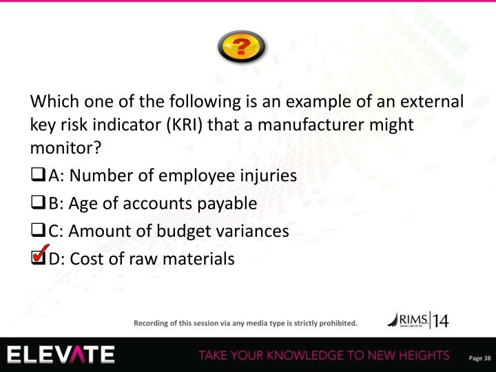 Which one of the following is an example of an external key risk indicator (KRI) that a manufacturer might monitor?