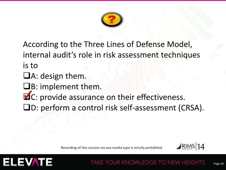 According to the Three Lines of Defense Model, internal audit's role in risk assessment techniques is to