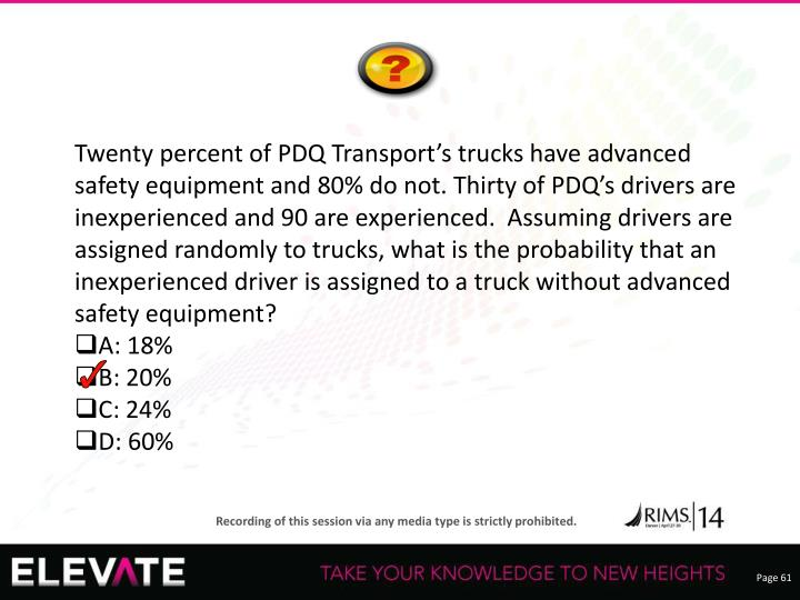 Twenty percent of PDQ Transport's trucks have advanced safety equipment and 80% do not. Thirty of PDQ's drivers are inexperienced and 90 are experienced.  Assuming drivers are assigned randomly to trucks, what is the probability that an inexperienced driver is assigned to a truck without advanced safety equipment?