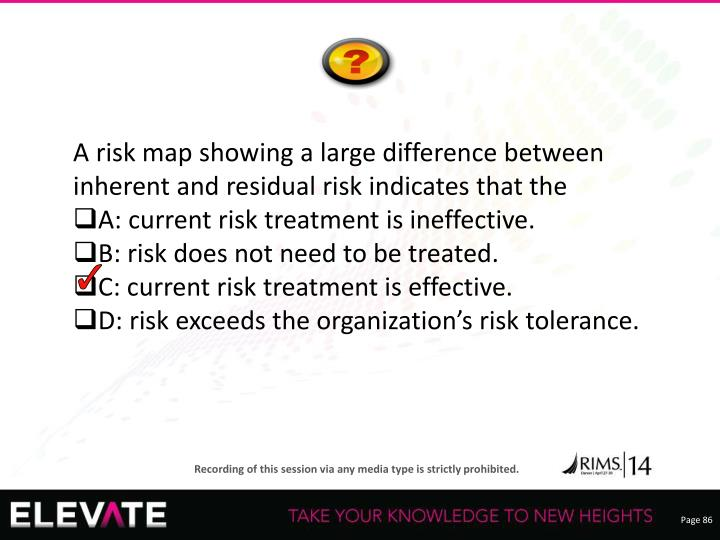 A risk map showing a large difference between inherent and residual risk indicates that the