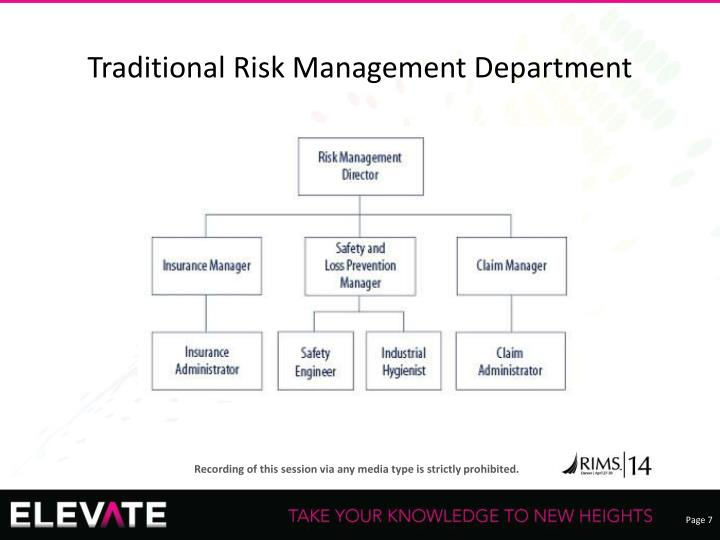 Traditional Risk Management Department