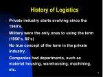 history of logistics