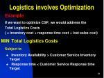 logistics involves optimization1