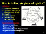 what activities take place in logistics