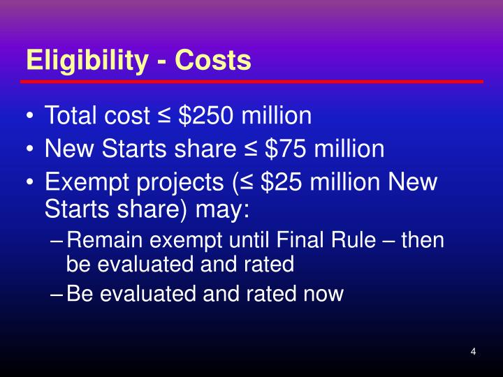 Eligibility - Costs
