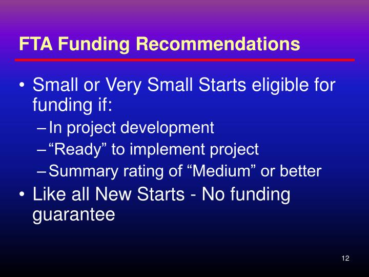 FTA Funding Recommendations