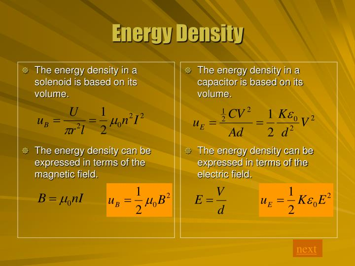 The energy density in a solenoid is based on its volume.