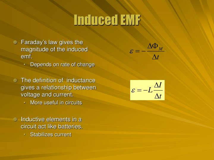 Faraday's law gives the magnitude of the induced emf.