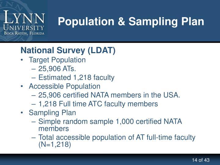Population & Sampling Plan