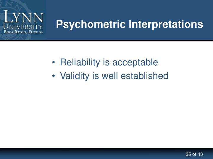 Psychometric Interpretations