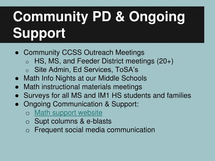 Community PD & Ongoing Support