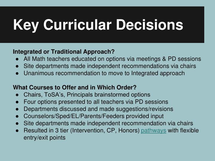 Key Curricular Decisions