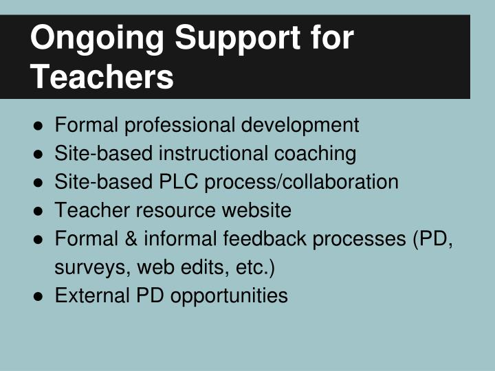 Ongoing Support for Teachers