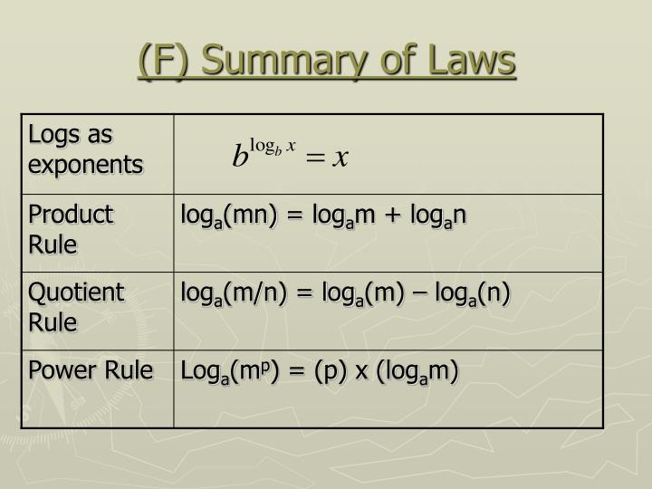 (F) Summary of Laws