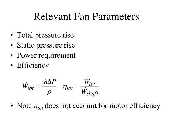 Relevant Fan Parameters