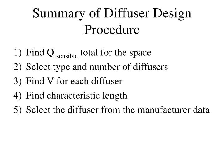 Summary of Diffuser Design Procedure