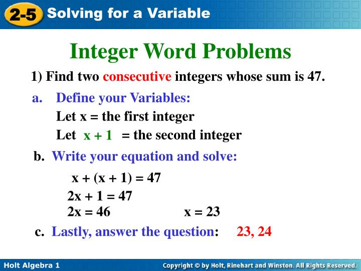 Integer Word Problems