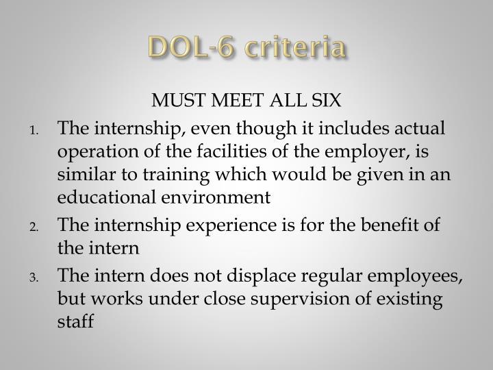 DOL-6 criteria