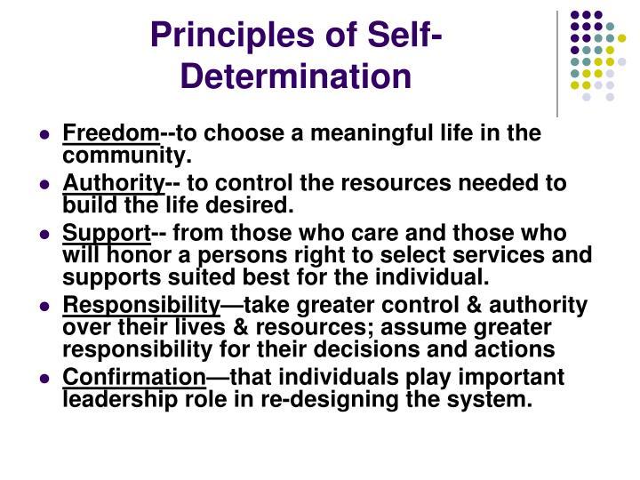 Principles of Self-Determination