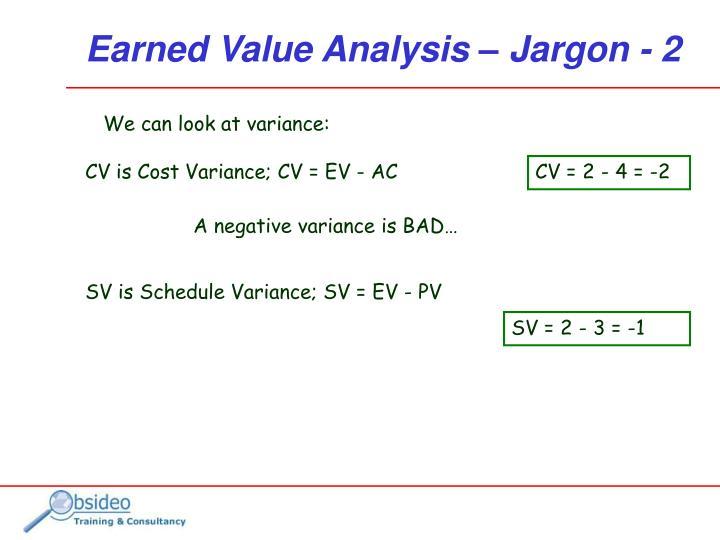 CV is Cost Variance; CV = EV - AC