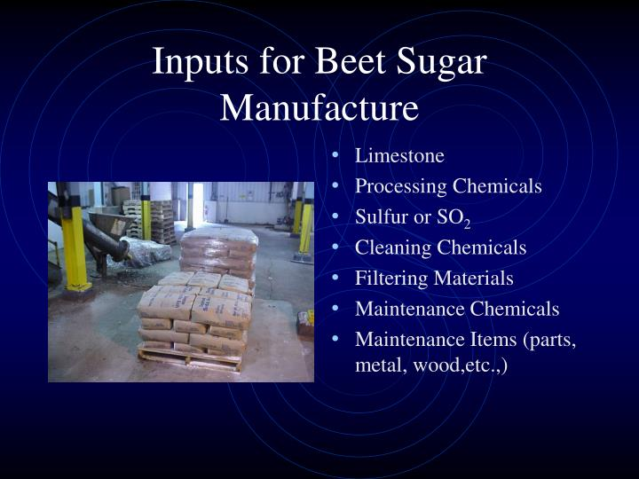 Inputs for Beet Sugar Manufacture