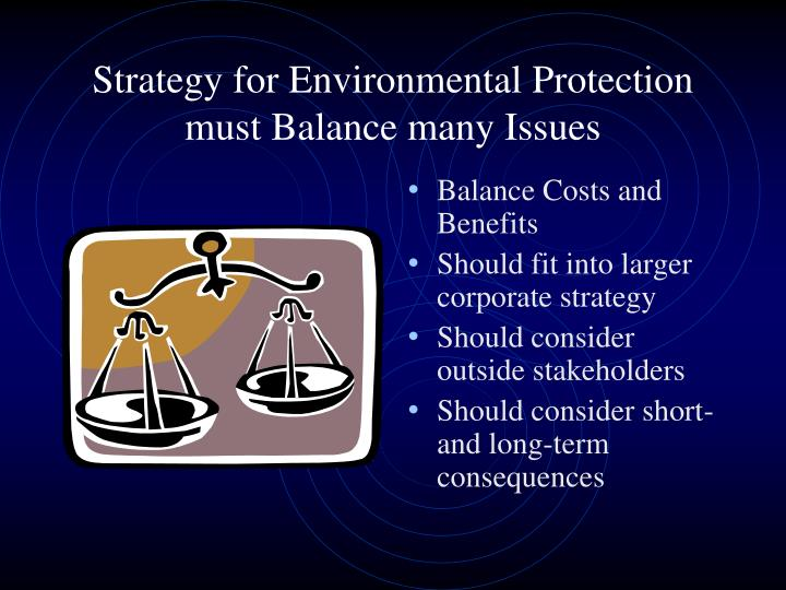 Strategy for Environmental Protection must Balance many Issues