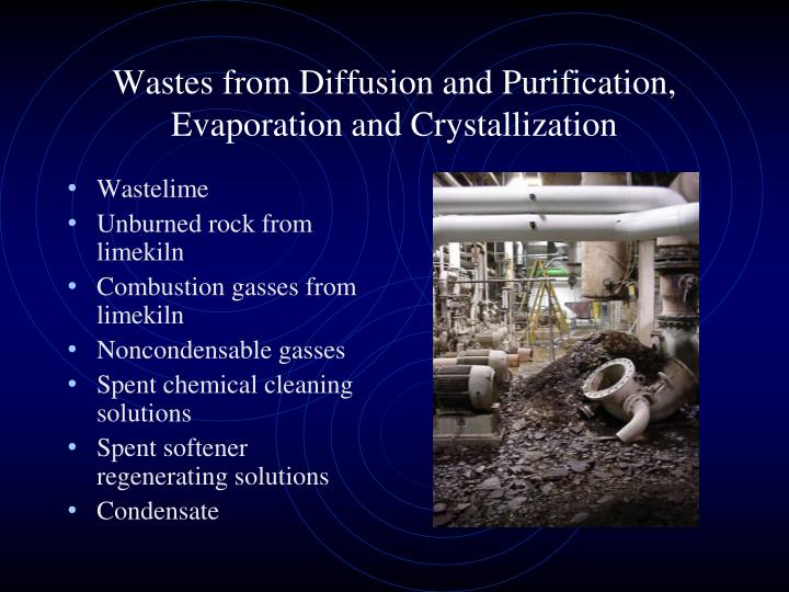 Wastes from Diffusion and Purification, Evaporation and Crystallization