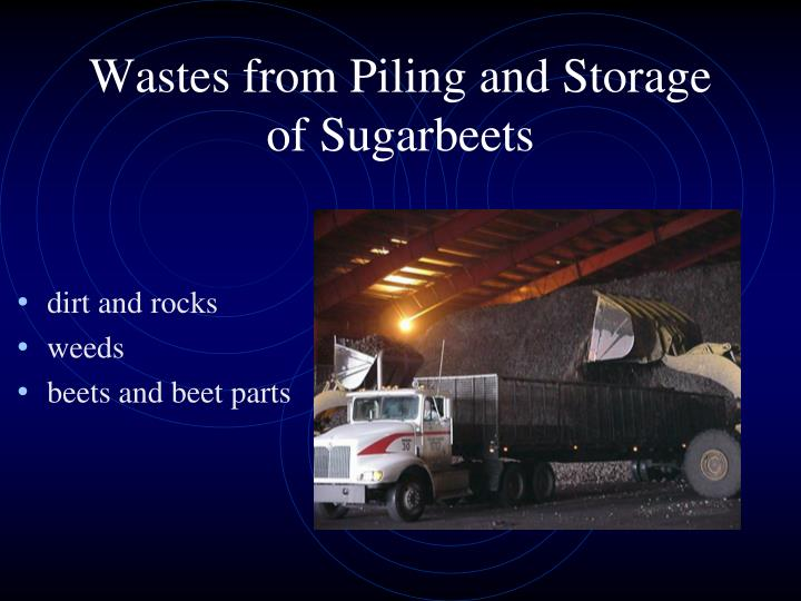 Wastes from Piling and Storage of Sugarbeets