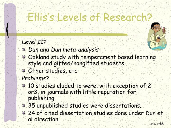 Ellis's Levels of Research?
