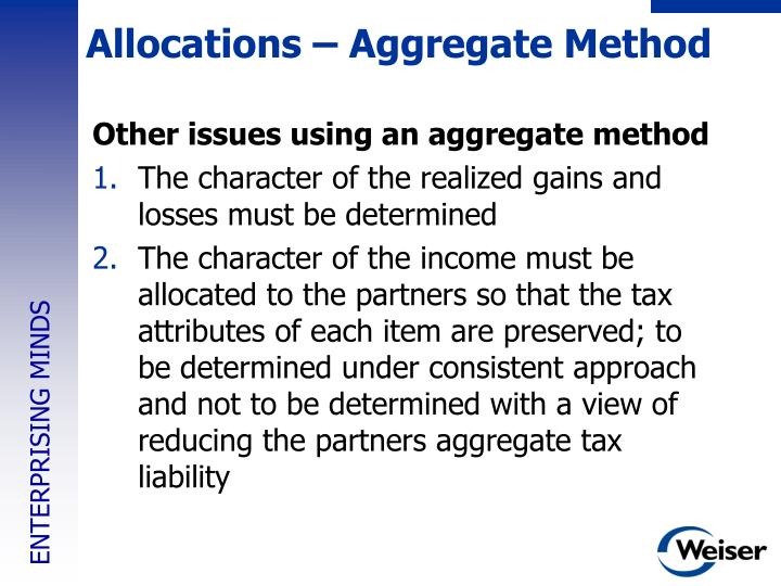 Allocations – Aggregate Method