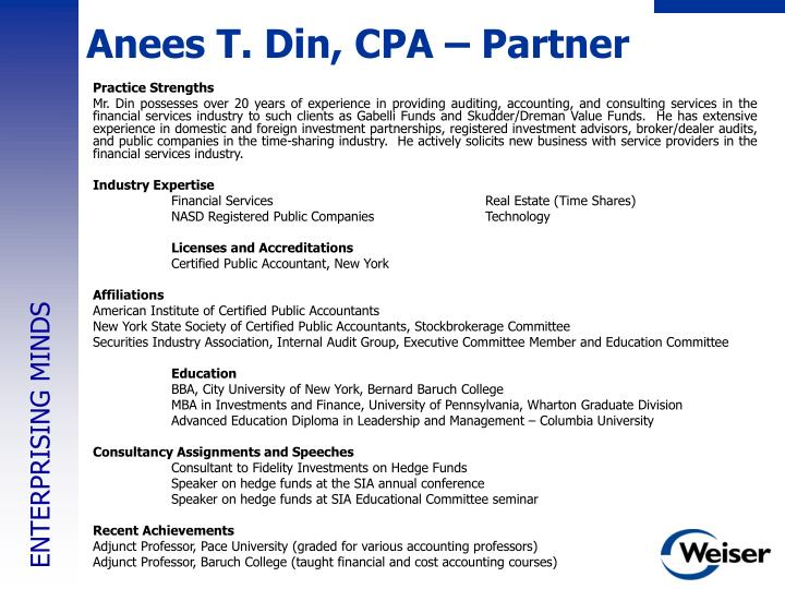 Anees T. Din, CPA – Partner