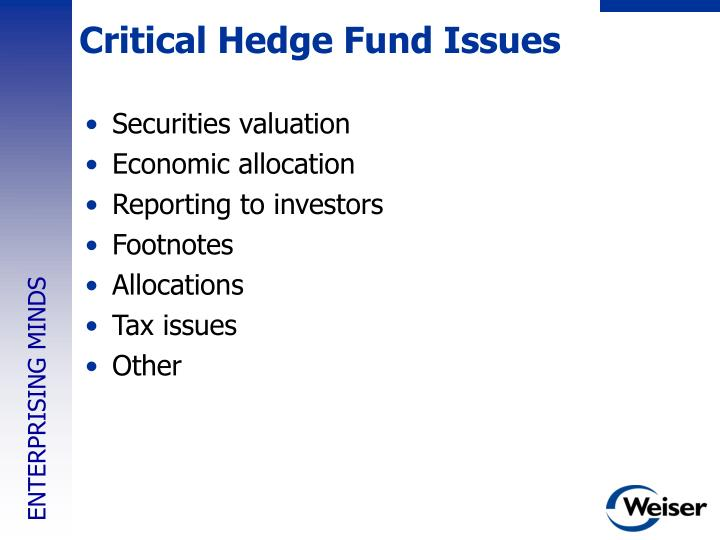 Critical Hedge Fund Issues