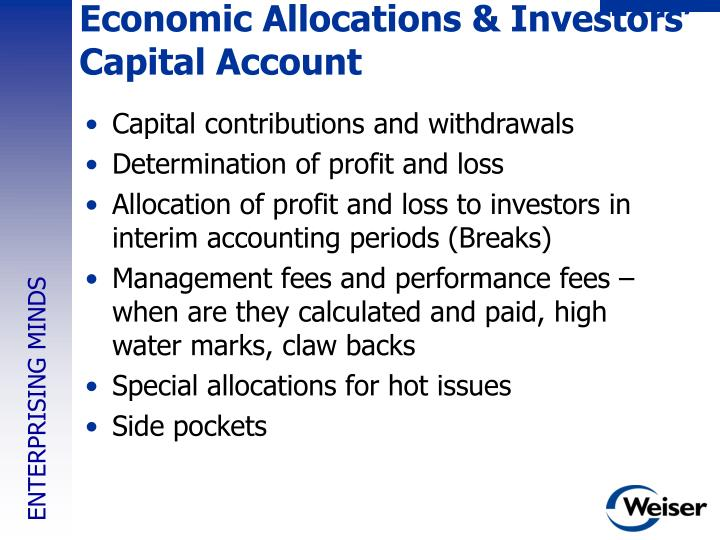Economic Allocations & Investors' Capital Account