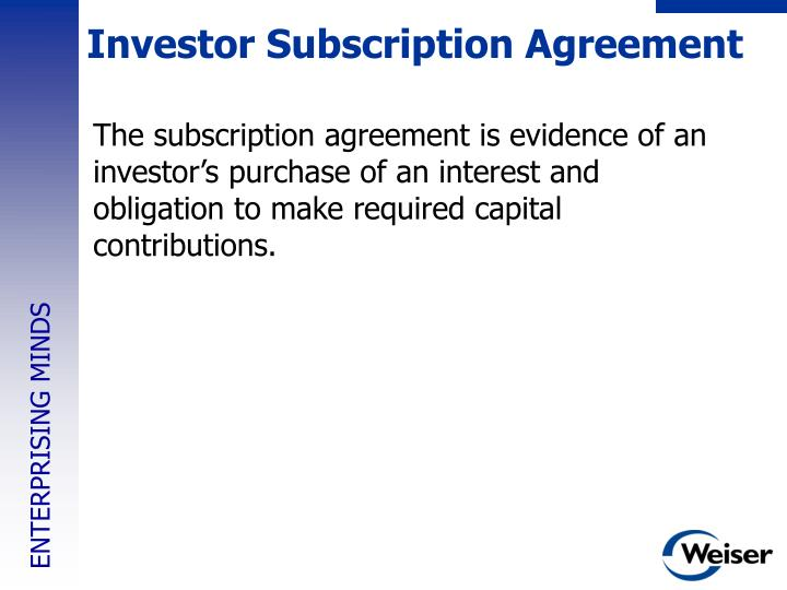Investor Subscription Agreement