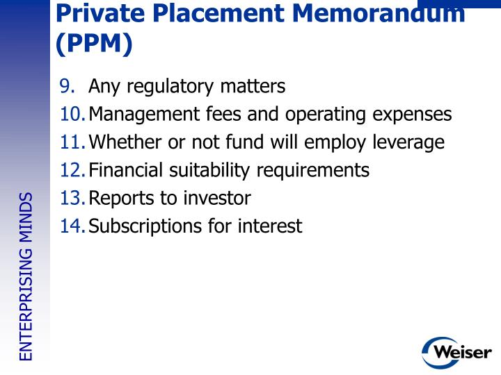 Private Placement Memorandum (PPM)