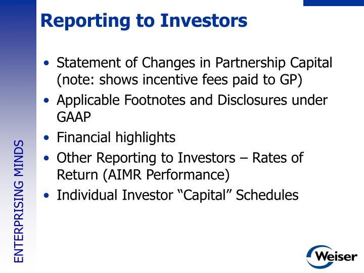 Reporting to Investors