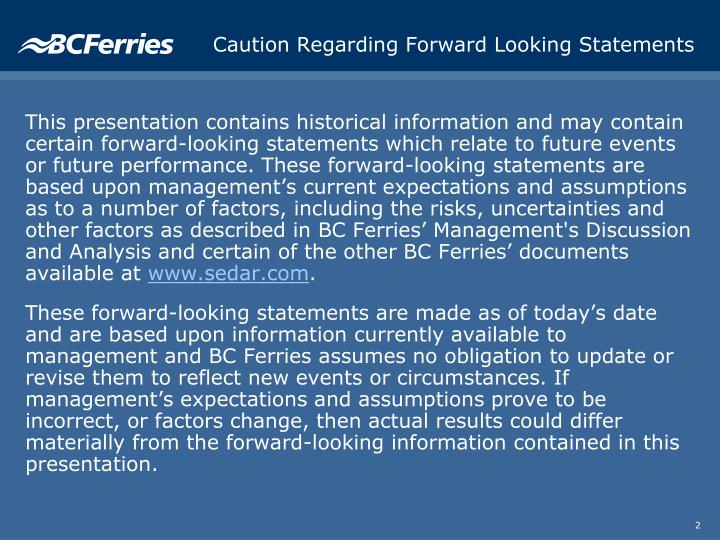 Caution regarding forward looking statements