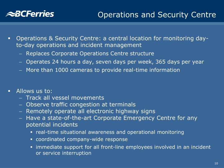 Operations and Security Centre