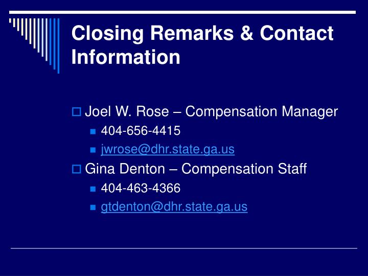Closing Remarks & Contact Information