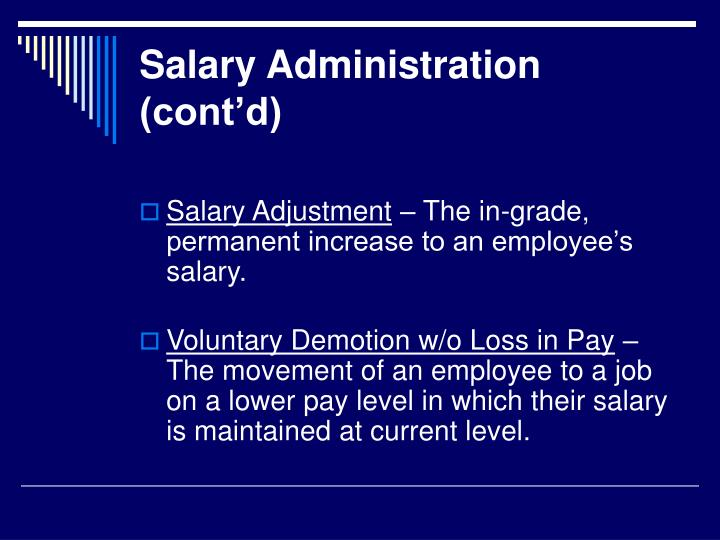 Salary Administration (cont'd)
