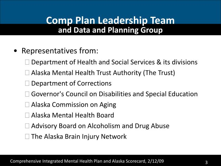 Comp plan leadership team and data and planning group