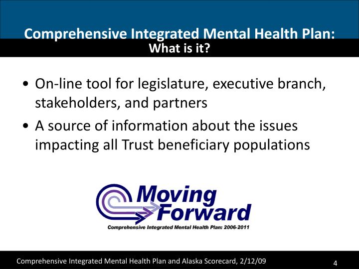 Comprehensive Integrated Mental Health Plan:
